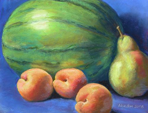 Watermelon, Apricots, Pear - Pastel