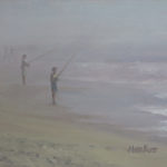 Fishing in the Fog - Oil Painting