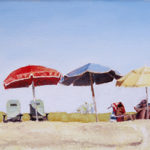 Four Umbrellas - Oil Painting