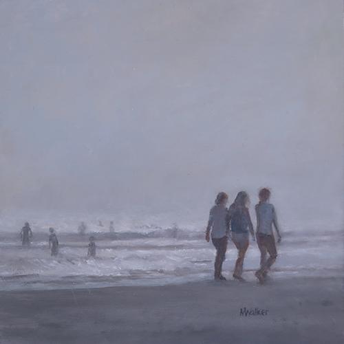 Trio Walking on Foggy Beach - Oil